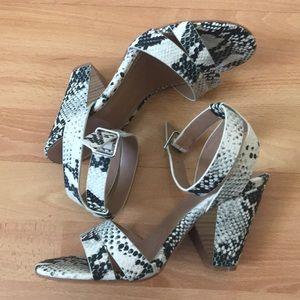 Torrid python print peep toe heels
